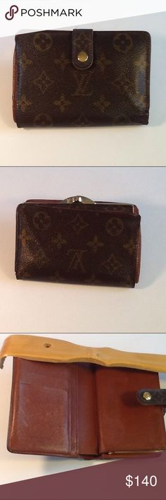 Authentic Louis Vuitton Porte Monaire Brown Wallet The canvas showed signs of used on the 2 corners due to folding. The leather showed wearing and had some peeling inside the money pocket. The stitches were restitched on the 2 corners. The canvas is good. The walker was made in France with a date code MI 0011. Louis Vuitton Accessories