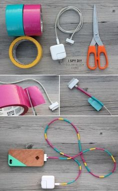 Wrapping cords with duct tape. I have an over abundance of duct tape. This would be a great idea for both cords and earbuds.
