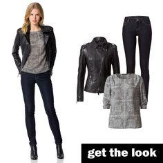 Lederjacke im Biker-Stil kombiniert mit hauchzarter Seide #getthelook #zerofashion #outfit