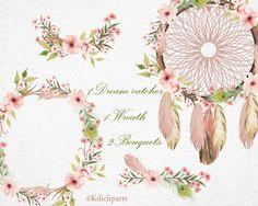 Boho wedding invitation, Dream catcher floral, Wreath flowers, Watercolor elements clipart, bouquet floral, Hand Painted, bohemian clipart,