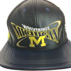 Wolverines Michigan, LOGO TEAM NFL BASEBALL LEATHER CAP Black  Available at the LEATHER collection www.theLEATHERcollection.net