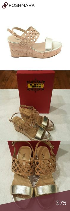 "VANELi Sz 7.5  Patty Wedge Sandal Platino Metallic Gold/Cork ..Leather 2.5"" heel. 1.25"" platform Vaneli Shoes Sandals"