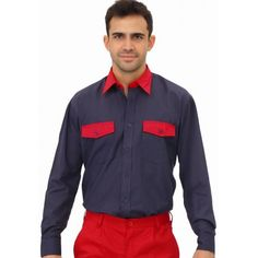 Camisa Manga Larga Dos Bolsillos Bicolor Cargo Referencia  P-19 CARGO Marca:  Vesin   Cuello camisero. Bolsillos: 2 de pecho con tapeta.