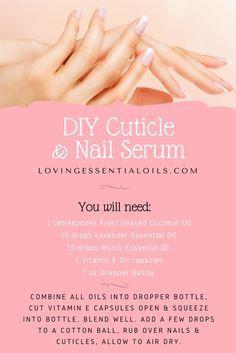DIY Cuticle & Nail Serum With Essential Oils Recipe | Beauty Tips & Recipes | Fractionated Coconut Oil | Lavender Oil | Myrrh Oil | Vitamin E Oil | Glass Dropper Bottle