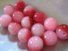 Pink and Red Quartz Rounds, 12mm