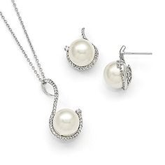 Sterling Silver Majestik 10-12mm White Shell Bead and CZ Earring /& Necklace Set