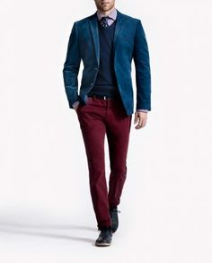 Nice outfit with blue micro-corduroy Blazer from the Spanish brand - Forecast - Fall-Winter 2013/14