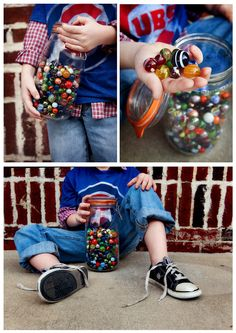 Playing with marbles.