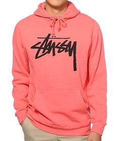 Brighten your outfits with a pink colorway that shows off an iconic black Stussy stock script graphic on the chest and a fleece lining to keep you comfortable.