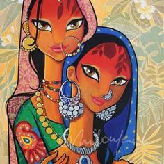Punjab artwork of a girl, India/Pakistan Rajasthani Painting, Rajasthani Art, Modern Indian Art, Indian Folk Art, African Art Paintings, Modern Art Paintings, Madhubani Art, Madhubani Painting, Indian Artwork