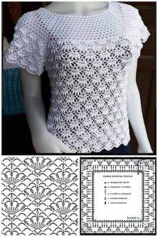 Débardeurs Au Crochet, Pull Crochet, Gilet Crochet, Mode Crochet, Crochet Square Patterns, Crochet Cardigan Pattern, Crochet Shirt, Crochet Stitches Chart, Crochet Diagram