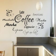Coffee Word Cloud for Kitchen Cafe Wall Sticker Graphic Transfer Expresso Latte Cafe Bar, Cafe Shop, Coffee Shop Design, Cafe Design, Mural Cafe, Coffee Theme Kitchen, Coffee Words, Coffee Area, Kitchen Wall Stickers