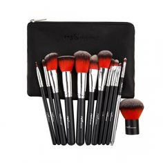 Red Professional Makeup Brush Kit(12pc-set) W/Pouch