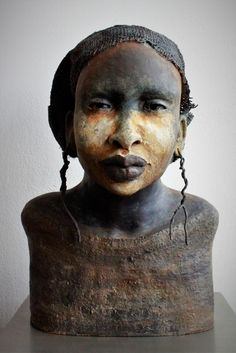 Lilian Wessels - Kamaria -Maanlicht - Absolutely love this! The finish is amazing, and the face is exquisite! Sculptures Céramiques, Art Sculpture, Pottery Sculpture, Sculpture Projects, Ceramic Sculptures, Ceramic Pottery, Ceramic Art, Ceramic Figures, Paperclay