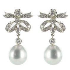 New French Grey Pearl Diamond Earrings   $4,113