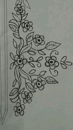 This Pin was discovered by fif Border Embroidery Designs, Embroidery Suits Design, Embroidery Flowers Pattern, Embroidery Patterns Free, Quilting Designs, Flower Patterns, Embroidery Stitches, Hand Embroidery Dress, Tambour Embroidery