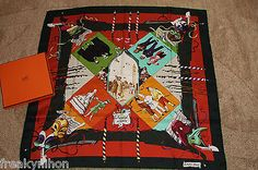 Authentic-HERMES-100-Silk-Scarf-Le-Carneval-de-Venise-red & black - unusual colourway