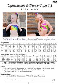 Gymnastics & Dance Tops 2 pdf Sewing Pattern Rainbow