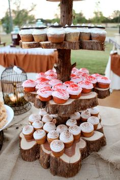 wooden cup cake tower