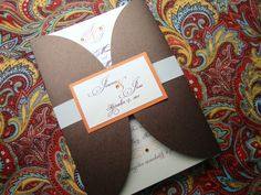 Gatefold Wedding Invitation with Ribbon and Tag on Etsy, $6.00
