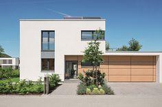 Lichtdurchfluteter Kubus - WeberHaus - http://www.hausbaudirekt.de/haus/lichtdurchfluteter-kubus/ - Fertighaus als Architektenhaus Bauhaus Einfamilienhaus Modernes Haus Stadtvilla mit Flachdach