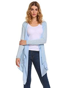 Beyove Womens Solid High Low Long Sleeve Boho Open Front Blouses Cardigans Sky Blue XXL >>> ** AMAZON BEST BUY ** #WinterLeggings Chiffon Cardigan, Long Cardigan, Knit Cardigan, Cardigans For Women, Ladies Sweaters, Dress Link, Winter Leggings, Sheer Chiffon, Stylish