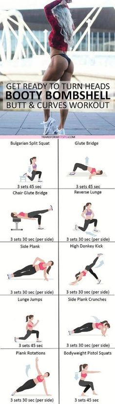 #womensworkout #workout #femalefitness Repin and share if this workout gave you a bombshell booty! Click the pin for the full workout. by tracy sam