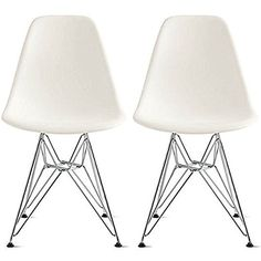 2xhome - Set of Two (2) White - Eames Style Side Chair Wire Legs Eiffel Dining Room Chair - Lounge Chair No Arm Arms Armless Less Chairs Seats Wooden Wood Leg Wire Leg Dowel Leg Legged Base Chrome Metal Eifel Molded Plastic 2xhome http://smile.amazon.com/dp/B00YI8HD9Q/ref=cm_sw_r_pi_dp_6Io7vb0TFXVJ7