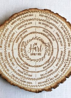 Family tree wood slice art, personalized fathers day ancestry gift, genealogy chart, custom wedding gift, anniversary keepsake This makes us feel warm and fuzzy inside. Love this engraved family tree. Personalized Fathers Day Gifts, Fathers Day Crafts, Personalized Christmas Gifts, Diy Christmas Gifts, Fathers Gifts, Grandparent Gifts, Engraved Gifts, Wood Burning Crafts, Wood Burning Patterns