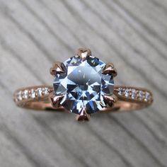 Dark Grey Moissanite & Diamond Engagement Ring. By Kristin Coffin Jewelry