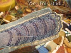 gorgeous felt and embroidery bluejay tail detail by Salley Mavor