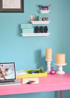 spabettie office space - #threshold Spring makeover - bright and fun!