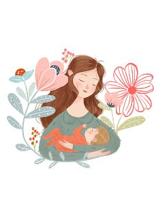 Art And Illustration, Character Illustration, Illustrations Posters, Pregnancy Art, Mother Art, Mother And Child, Holding Baby, Baby Art, Cute Drawings