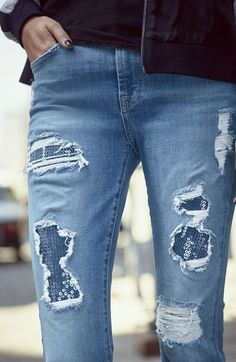 Nordstrom - 7 For All Mankind - Ripped & Embellished Ankle Skinnies