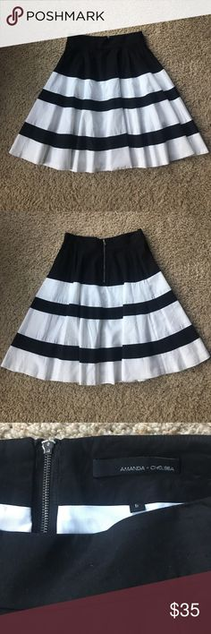 Amanda and Chelsea twirl skirt Amanda and Chelsea black and white striped twirl skirt. Cotton blend and lined Amanda & Chelsea Skirts Circle & Skater