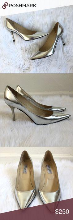 dc56ab3fe548 Jimmy Choo Metallic Silver Pumps B-e-a-utiful shiny metallic silver pointy  toe pumps by Jimmy