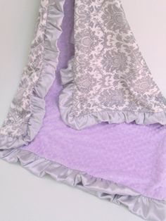 Lavender and Gray Damask Minky Baby Blanket by MinkyBabyGifts, $26.00  I love this Blanket!