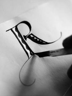 ✍ Sensual Calligraphy Scripts ✍ initials, typography styles and calligraphic art - Donald Jackson - Hand Lettering and Fonts. Calligraphy Letters, Typography Letters, Modern Calligraphy, Marathi Calligraphy, Beautiful Calligraphy, Illuminated Letters, Illuminated Manuscript, Penmanship, Letter Art