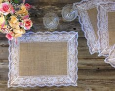 Burlap Placemats with WHITE Lace 14x18 by DawnWeddingDesigns