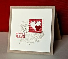 Supplies needed for this card:  Stamps: Perfect Postage, French Foliage, Petite Pairs  Ink: Real Red, Crumb Cake, Early Espresso  Card stock: Crumb Cake, Very Vanilla, scrap of Cherry Cobbler for the punched heart  Other: Heart to Heart and Postage Stamp punches, stamp-a-majig