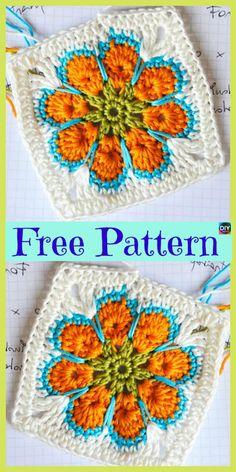 Transcendent Crochet a Solid Granny Square Ideas. Inconceivable Crochet a Solid Granny Square Ideas. Granny Square Pattern Free, Granny Square Crochet Pattern, Afghan Crochet Patterns, Crochet Squares, Knitting Patterns, Free Knitting, Sock Knitting, Crochet Blocks, Knitting Tutorials