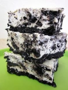 Oreo Cheesecake Bars CRUST:      1 (1 pound) package Oreo cookies     4 Tablespoons unsalted butter, melted   FILLING:      3 (8 ounce) packages cream cheese, at room temperature  (I used low fat!)     3/4 cup granulated white sugar     3/4 cup sour cream, at room temperature     1 teaspoon vanilla extract     1/2 teaspoon salt     3 large eggs, at room temperature