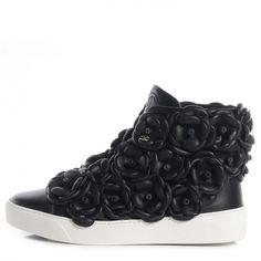 best website 3c1b1 67699 CHANEL Calfskin Camellia High Top Sneakers 36 Black NEW Women s Feet, High  Top Sneakers,