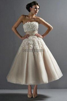 Strapless Lace Sash Tea-length Vintage Wedding Dress
