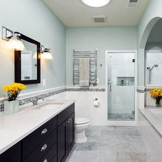 Love tiled bathroom walls never mind the tile I LOVE THIS PERIOD!   Upstairs bathroom YES!
