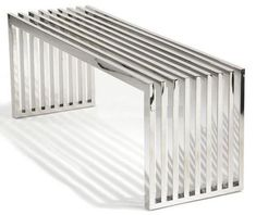 Polished Stainless Steel Bench by Alphaville Design - Furniture & Decor Stainless Steel Furniture, Stainless Steel Polish, Furniture Decor, Furniture Design, Office Furniture, Ottoman Bench, Table Bench, Cool Chairs, New Homes
