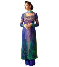 Shades of Peacock in Georgette Straight Palazzo Suit