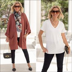 Womens long cardigan in a nutmeg color - perfect for transition to fall Hooded Poncho, Jackets For Women, Clothes For Women, Basic Tops, Cardigan Fashion, Fashion Over 40, Jacket Style, Simple Outfits, Womens Scarves