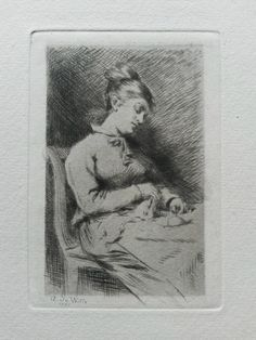 """De Witte : Tricoteuse (1875). A tricoteuse is literally translated as """"knitter"""""""
