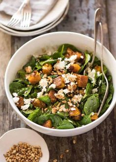 Roast Pumpkin, Spinach and Feta Salad with a Honey Balsamic Dressing - recipetineats Healthy Salad Recipes, Vegetarian Recipes, Cooking Recipes, Vegan Meals, Cooking Ideas, Baked Pumpkin, Pumpkin Recipes, Roast Pumpkin Salad, Feta Salat